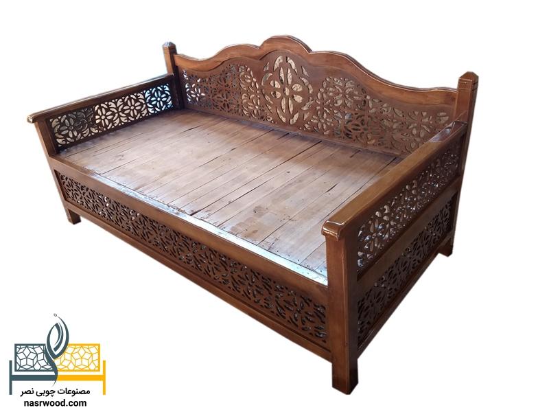 تخت سنتی nasr07i سایز 2 در 1 قهوه ای روشن