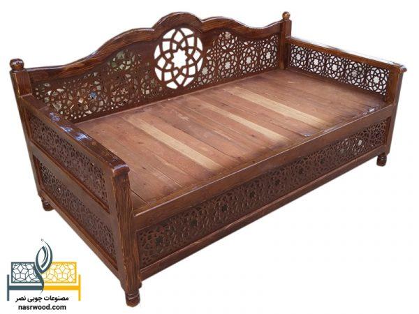 تخت سنتی nasr17i سایز 2 در 1 قهوه ای روشن