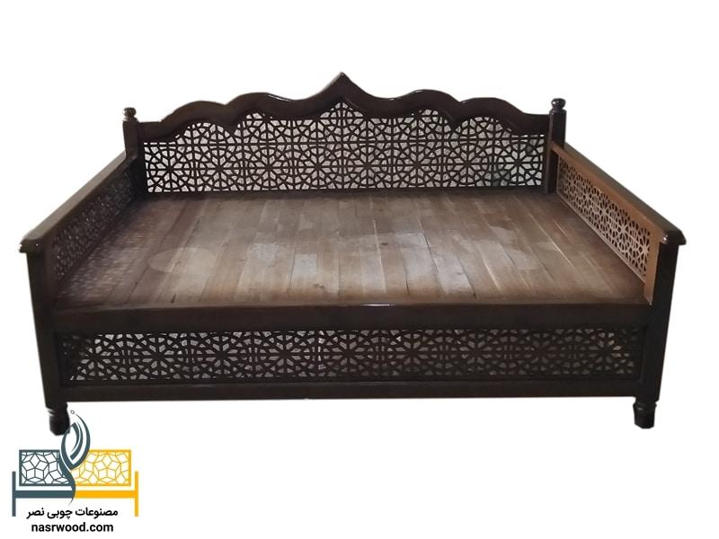 تخت nasr01a قهوه ای تیره سایز 2 در 1.20 متر