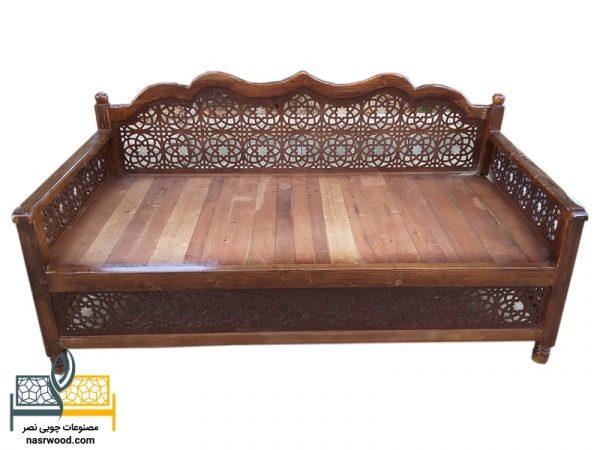 تخت سنتی nasr17a سایز 2 در 1 قهوه ای روشن
