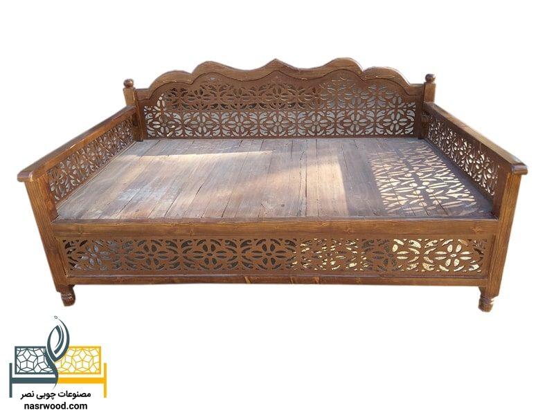تخت سنتی nasr07a سایز 2 در 1.20 قهوه ای روشن