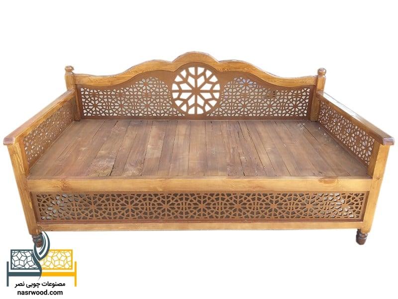 تخت سنتی nasr01i رنگ عسلی سایز 2 در 1
