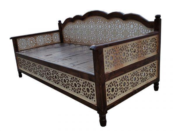 تخت سنتی nasr12n سایز 2 در 1 متر قهوه ای تیره