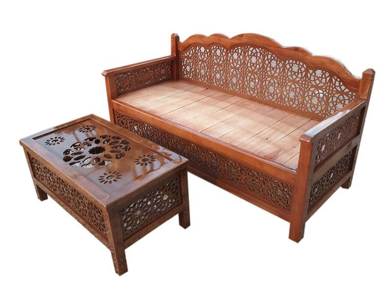 ست دوتایی میز و تخت سنتی